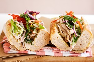 Roast chicken, apple slaw and aioli baguette. Photo / Babiche Martens