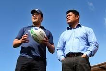 Quentin Brears (left) and Manu Samoa Team Manager Tuala Matthew Vaea. Photo / APN