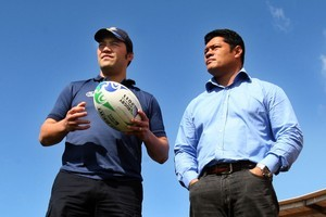 Quentin Brears (left) and Manu Samoa Team Manager Tuala Matthew Vaea. Photo / APN