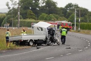Scene of the double fatal crash between two light trucks on SH 26, between between Hamilton and Morrinsville. Photo  / Stephen Barker