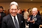 Leader of NZ First, Winston Peters, greets supporters in Auckland last night. Photo / Getty Images