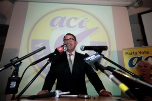 Act Party candidate for Epsom John Banks makes his victory speech. Photo / Chris Loufte