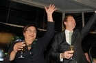 Metiria Turei and Russel Norman address the Green Party faithful. Photo / Michael Craig