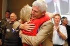 Tim Macindoe celebrates his re-election with his wife. Photo / Christine Cornege.