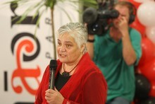Tariana Turia speaking at Whangaehu Marae after the election results. 