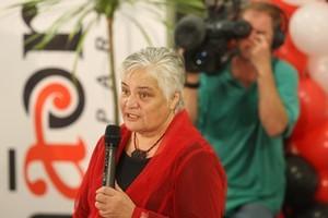 Tariana Turia speaking at Whangaehu Marae after the election results.