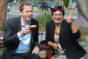 Green Party co-leaders Russel Norman and Metiria Turei take stock. Photo / Brett Phibbs