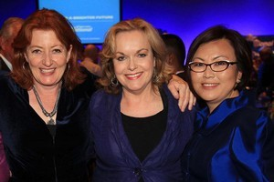 Maggie Barry (left) with MPs Judith Collins and Melissa Lee at National's celebrations on Saturday night. Photo / Greg Bowker