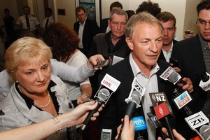 Phil Goff and his deputy, Annette King, announce their resignations  yesterday. Photo / Mark Mitchell