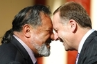 Maori party co-leader Dr Pita Sharples and National Party leader John Key. File photo / Steven McNicholl