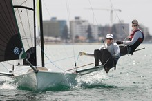 Peter Burling and Blair Tuke sail their 49er as they for London Olympic qualifers. Photo / John Borren