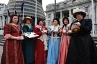Pay Equity Challenge campaigners Karen Price (left), Conor Twyford, Susan Elliot, Noeline Holt, Tina McIvor and Angela McLeod on the Parliament forecourt in Wellington, 2009. Photo / Mark Mitchell