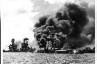 On December 7, 1941, during Japanese-United States peace talks, Japan attacked Pearl Harbour in Hawaii, destroying or damaging most of the United States naval force, and a large air fleet. Photo source unknown