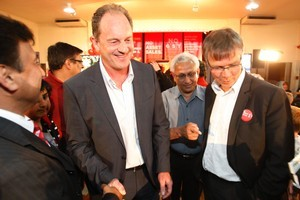 David Shearer (left), the Labour MP for Mt Albert, and David Parker, Labour's Epsom candidate, at their election night function. Parker's withdrawal makes Shearer a more potent candidate. Photo / Richard Robinson.