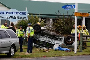 The elderly woman driving the silver car died when it was 'T-boned' by a truck at a notorious intersection on Morrinsville Rd in Newstead. Photo / Christine Cornege