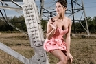 Squatting amid the pylons and other awkward model poses. Photo / Supplied
