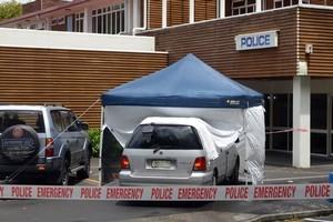 The police station in Tokoroa where Jamie Ginns shot Matakapua Glassie. Photo / John Van De Ven