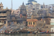 Cremation pyres on the banks of the Ganges River in Varanasi, India. Photo / Mauricio Olmedo-Perez