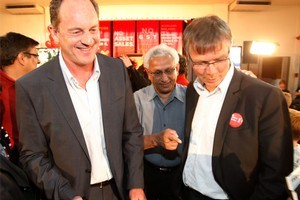 David Shearer (left), the Labour MP for Mt Albert, and David Parker, Labour's Epsom candidate. Photo / Richard Robinson