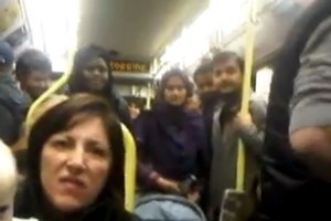 This woman's opinions - aired vocally on a London tram and uploaded onto YouTube - were not appreciated by her fellow passengers, or the British police. Photo / YouTube