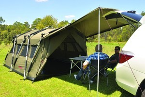 The Aussie Outlaw Tomahawk is a sturdy canvas tent. Photo / Supplied