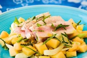 Seared tuna, melon and fennel salad. Photo / Babiche Martens