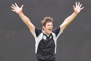 Hamish Bennett celebrates a wicket in the opening ODI against Pakistan. Photo / Getty Images