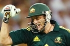 David Hussey of Australia celebrates victory during in the third ODI against England in Sydney. Photo / Getty Images