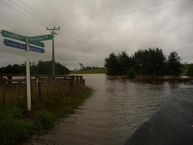 Waiteitei Rd, Whangaripo Valley Rd intersection. Photo / Melanie Williams