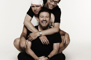Stephen Merchant, Karl Pilkington and Ricky Gervais of new TV3 show, An Idiot Abroad, starting February 10, 9:30pm. Photo / Supplied