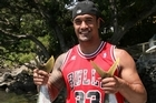 Jerome Kaino boated his first kingfish. Photo / Geoff Thomas