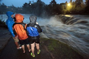 The Haruru Falls near Paihia provided early evidence of the deluges that hit Northland. Photo / NZPA