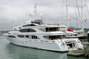 Super yacht Galaxy is believed to be owned by the manager of the rock n roll band U2. Photo / Robert Trathen
