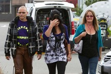 Laurie Drew, left, father of one of the victims of the Pike River mine explosion, arrives at the Greymouth District Court for the coroner's inquest into the ddisaster. Photo / Simon Baker