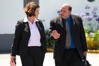 Pike River Mine CEO Peter Whitall talks with lawyer Stacey Shorthall. Photo / Simon Baker