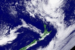 A satellite image shows tropical cyclone Wilma a few hundred kilometres north of New Zealand. Photo / Supplied