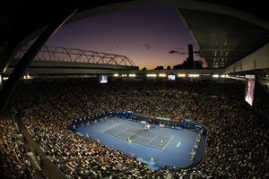 Rod Laver Arena pictured at sunset. Photo / AP