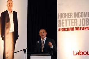 Phil Goff gives his State of the Nation address. Photo / Sarah Ivey