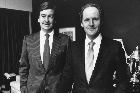 Michael Fay (left) and David Richwhite were among the handful of Kiwis who benefited from the sales of crown assets in the late-80s and 90s. Photo / NZ Herald