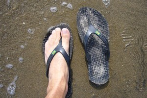 Amazon eco flip-flops, $23.95. Photo / Jim Eagles