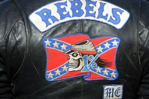 A Rebels MC member in Sydney. Photo / AAP