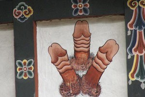 The paintings of giant phalluses which often adorn the walls of homes in Bhutan can be startling for first-time visitors. Photo / Jill Worrall