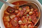 Spanish sausage and chickpea soup. Photo / Carolyn Robertson