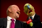 News is a joke, public service broadcasting is dead, the future is pay TV and anything goes as long as TVNZ makes mountains of profit. Pictured: TVNZ's Mark Sainsbury with his lookalike Mark Muppet. Photo / Richard Robinson