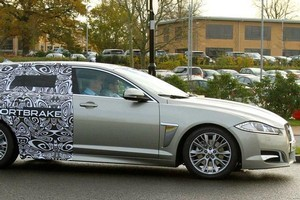 The disguised Jaguar XF estate prototype has been badged the Sportbrake and is expected to have a sleek and stylish rear. Photo / Supplied