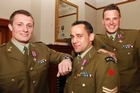 Former NZ Provincial Reconstruction Team soldiers, from left, Corporal Matthew Ball, Corporal Albert Moore and Lance Corporal Allister Baker, at Government House, Wellington, after their investiture for gallantry. Photo / Mark Mitchell