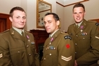 Former NZ Provincial Reconstruction Team soldiers, from left, Corporal Matthew Ball, Corporal Albert Moore and Lance Corporal Allister Baker. Photo / Mark Mitchell