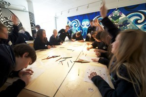 The stencils and pencils in the Auckland Art Gallery's Learning Centre are free for anyone toplay with. Photo / Supplied