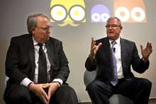 Sky TV chief John Fellet (left) and TVNZ chief Rick Ellis announce the new pay-TV service called Igloo. Photo / Natalie Slade 