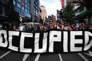The Auckland Council is still arguing its case to evict protesters who have been based in Aotea Square since October 15. Photo / Richard Robinson